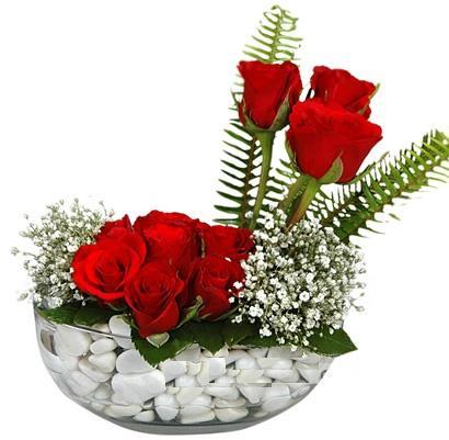 cam içerisinde 9 adet kirmizi gül  Karaman hediye sevgilime hediye çiçek