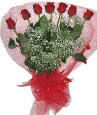 7 adet kipkirmizi gülden görsel buket  Karaman çiçek gönderme sitemiz güvenlidir