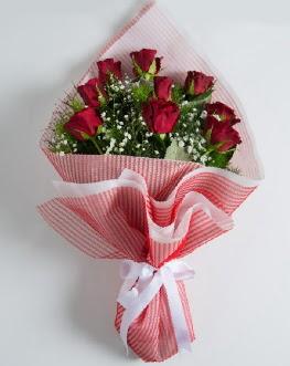 9 adet kırmızı gülden buket  Karaman çiçekçiler