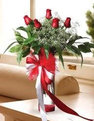 Camda 5 kırmızı gül tanzimi  Karaman internetten çiçek satışı