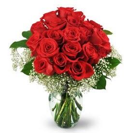 25 adet kırmızı gül cam vazoda  Karaman internetten çiçek siparişi