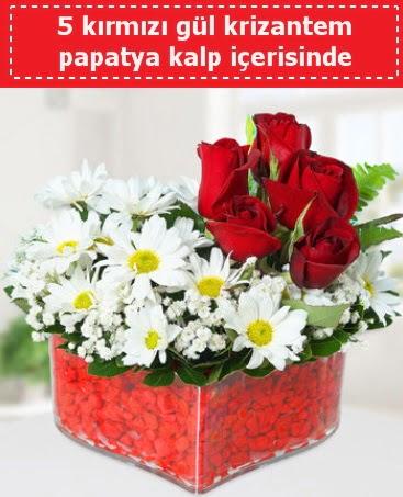 mika kalp içerisinde 5 kırmızı gül papatya  Karaman çiçek siparişi sitesi