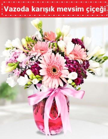 Vazoda karışık mevsim çiçeği  Karaman internetten çiçek siparişi