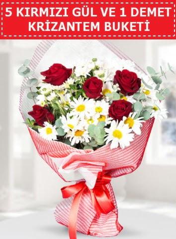 5 adet kırmızı gül ve krizantem buketi  Karaman çiçekçiler