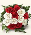 Karaman internetten çiçek siparişi  10 adet kirmizi beyaz güller - anneler günü için ideal seçimdir -