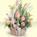 Karaman güvenli kaliteli hızlı çiçek  sepette pembe güller