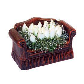 seramik içerisinde 11 gül  Karaman online çiçek gönderme sipariş