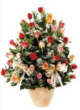 91 adet renkli gül aranjman   Karaman hediye çiçek yolla