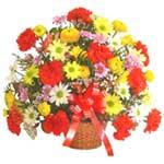 karisik renkli çiçek sepet   Karaman hediye çiçek yolla