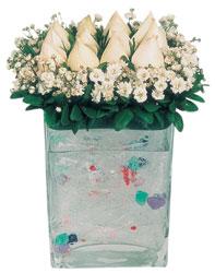 Karaman cicek , cicekci  7 adet beyaz gül cam yada mika vazo tanzim