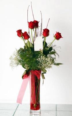 Karaman çiçek mağazası , çiçekçi adresleri  6 adet kirmizi gül ve cam yada mika vazo