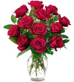 Karaman çiçek online çiçek siparişi  1 düzine kirmizi gül sevenlere özel vazo gülleri