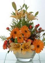 Karaman İnternetten çiçek siparişi  cam yada mika vazo içinde karisik mevsim çiçekleri