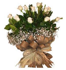 Karaman internetten çiçek satışı  9 adet beyaz gül buketi