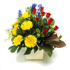 Karaman çiçek online çiçek siparişi  9 adet gül ve kir çiçekleri cam yada mika vazoda