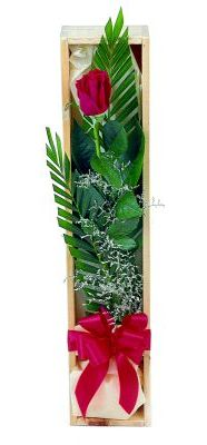 1 adet kutuda kirmizi gül  Karaman hediye çiçek yolla