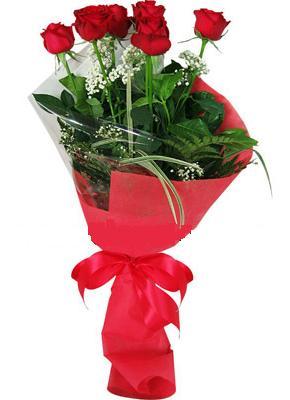 7 adet kirmizi gül buketi  Karaman çiçek , çiçekçi , çiçekçilik