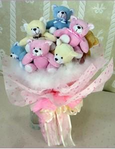 9 adet ayiciktan buket  Karaman İnternetten çiçek siparişi