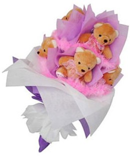 9 adet ayiciktan buket  Karaman online çiçekçi , çiçek siparişi