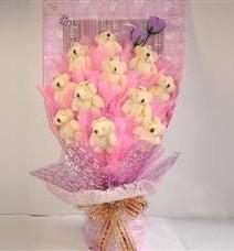 11 adet pelus ayicik buketi  Karaman çiçekçi mağazası