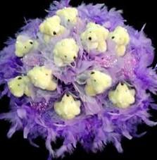 11 adet pelus ayicik buketi  Karaman internetten çiçek siparişi