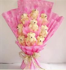 9 adet pelus ayicik buketi  Karaman yurtiçi ve yurtdışı çiçek siparişi