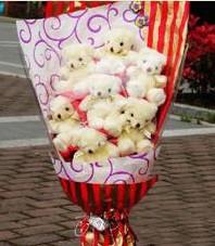 11 adet pelus ayicik buketi  Karaman çiçek siparişi vermek