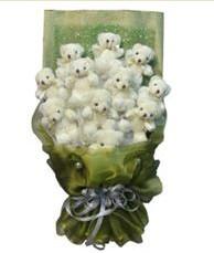 11 adet pelus ayicik buketi  Karaman çiçek online çiçek siparişi