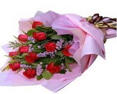 11 adet kirmizi güllerden görsel buket  Karaman hediye çiçek yolla
