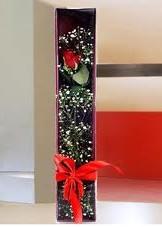 kutu içinde tek kirmizi gül  Karaman çiçek yolla , çiçek gönder , çiçekçi