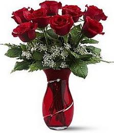 Vazo içinde 8 adet kirmizilar içinde güller  Karaman anneler günü çiçek yolla