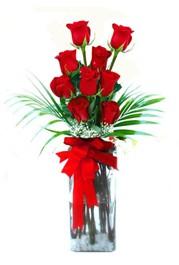 Karaman internetten çiçek satışı  9 adet mika yada cam vazoda gül tanzimi