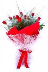 Karaman ucuz çiçek gönder  9 adet kirmizi gül buketi demeti