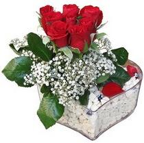 Karaman çiçek gönderme  kalp mika içerisinde 7 adet kirmizi gül