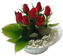 Karaman uluslararası çiçek gönderme  cam yada mika içerisinde 5 adet kirmizi gül