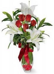 Karaman hediye sevgilime hediye çiçek  5 adet kirmizi gül ve 3 kandil kazablanka