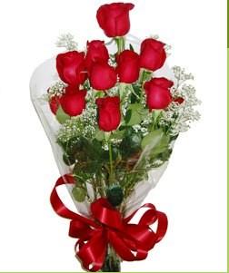 Karaman kaliteli taze ve ucuz çiçekler  10 adet kırmızı gülden görsel buket
