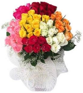 Karaman internetten çiçek satışı  51 adet farklı renklerde gül buketi