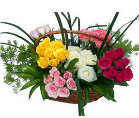 Karaman çiçek siparişi vermek  35 adet rengarenk güllerden sepet tanzimi