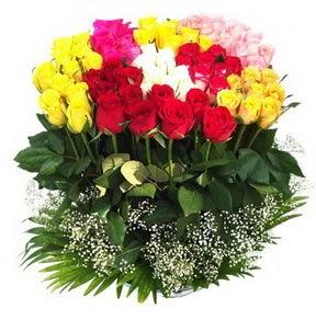 Karaman çiçek gönderme sitemiz güvenlidir  51 adet renkli güllerden aranjman tanzimi