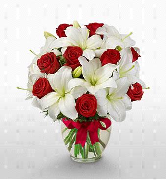 Karaman online çiçek gönderme sipariş  1 dal kazablanka 11 adet kırmızı gül vazosu