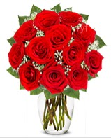 12 adet vazoda kıpkırmızı gül  Karaman çiçek servisi , çiçekçi adresleri