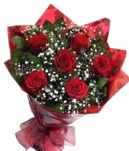 6 adet kırmızı gülden buket  Karaman çiçekçi telefonları