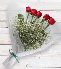 5 kırmızı gülden sade buket  Karaman çiçekçi mağazası