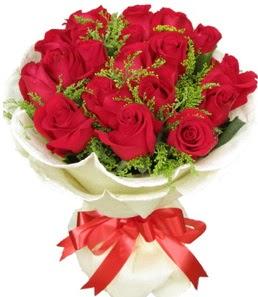 19 adet kırmızı gülden buket tanzimi  Karaman İnternetten çiçek siparişi