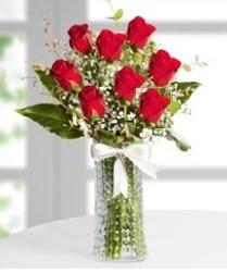 7 Adet vazoda kırmızı gül sevgiliye özel  Karaman cicekciler , cicek siparisi