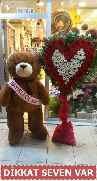 1.5 Metre peluş ayı ve Kalp  Karaman hediye çiçek yolla