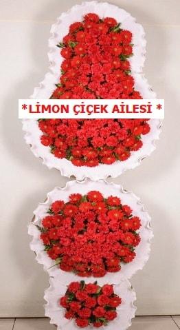 3 katlı kırmızı düğün açılış çiçeği  Karaman çiçek siparişi sitesi