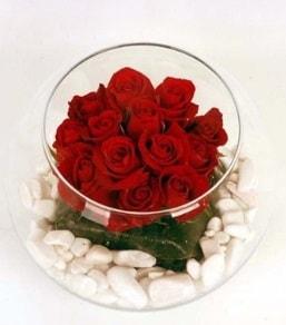 Cam fanusta 11 adet kırmızı gül  Karaman çiçek siparişi sitesi