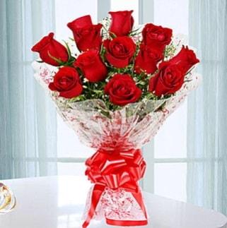 11 adet kırmızı gülden görsel şık buket  Karaman çiçek siparişi vermek